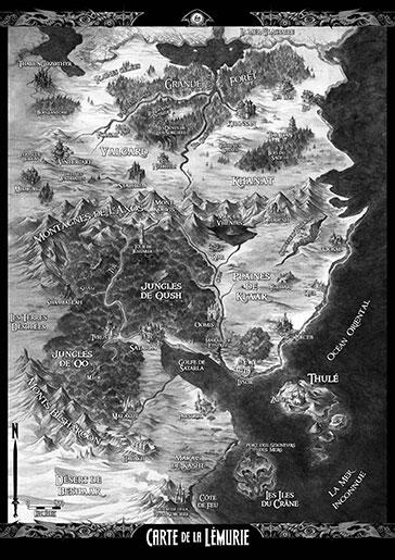 Carte Lémurie en noir et blanc