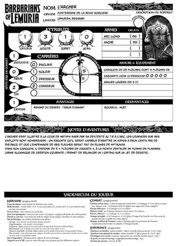 fiches de Personnages kalukans (scénario Les 3 coffres)