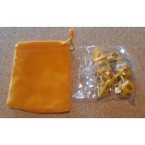 Set de 7 dés opaques jaunes de jeux de rôles + pochette velours (accessoire de jdr)