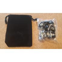 Set de 7 dés opaques noirs de jeux de rôles + pochette velours (accessoire de jdr)