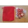 Set de 7 dés opaques rouges de jeux de rôles + pochette velours (accessoire de jdr) 001F