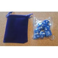 Set de 7 dés opaques bleux de jeux de rôles + pochette velours (accessoire de jdr) 001D