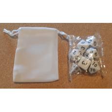 Set de 7 dés opaques blancs de jeux de rôles + pochette velours (accessoire de jdr)