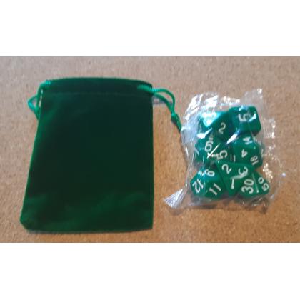 Set de 7 dés opaques verts de jeux de rôles + pochette velours (accessoire de jdr) 001G