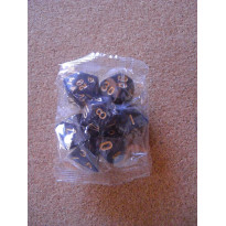 Set de 7 dés nacrés gris foncés de jeux de rôles (accessoire de jdr)