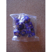 Set de 7 dés nacrés bleus de jeux de rôles (accessoire de jdr) 003Q