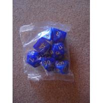 Set de 7 dés nacrés bleus de jeux de rôles (accessoire de jdr)
