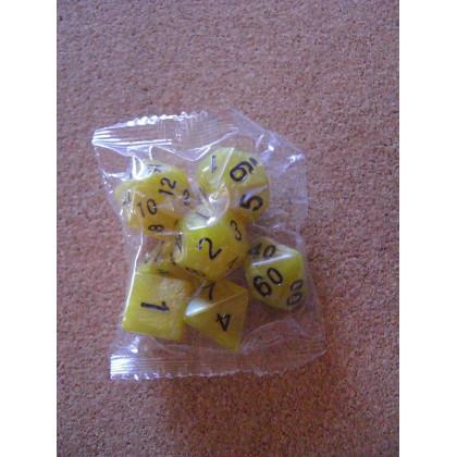 Set de 7 dés nacrés jaunes de jeux de rôles (accessoire de jdr) 003L