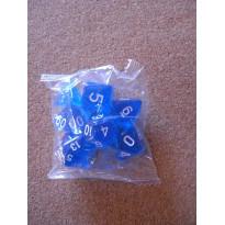 Set de 7 dés transparents bleus de jeux de rôles (accessoire de jdr)