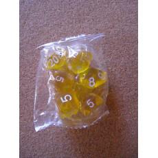 Set de 7 dés transparents jaunes de jeux de rôles (accessoire de jdr)