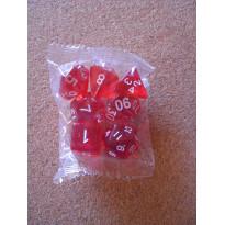 Set de 7 dés transparents rouges de jeux de rôles (accessoire de jdr)