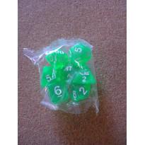 Set de 7 dés transparents verts de jeux de rôles (accessoire de jdr)