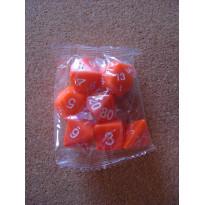 Set de 7 dés opaques oranges de jeux de rôles (accessoire de jdr)