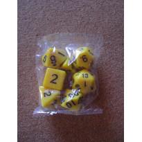 Set de 7 dés opaques jaunes de jeux de rôles (accessoire de jdr)