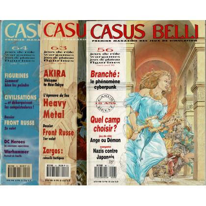 Lot Casus Belli N° 56-63-64 sans encarts (magazines de jeux de rôle) L119