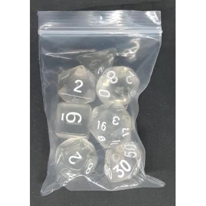 Set de 7 dés transparents de jeux de rôles (accessoire de jdr) 006O