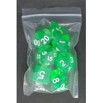 Set de 7 dés transparents de jeux de rôles (accessoire de jdr)