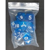 Set de 7 dés transparents de jeux de rôles (accessoire de jdr) 006G