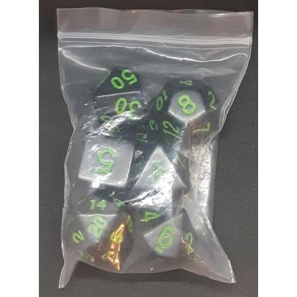 Set de 7 dés opaques noirs de jeux de rôles (accessoire de jdr) 007X