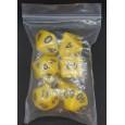 Set de 7 dés opaques jaunes de jeux de rôles (accessoire de jdr) 007C