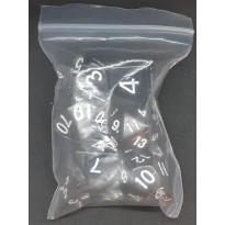 Set de 7 dés opaques noirs de jeux de rôles (accessoire de jdr)