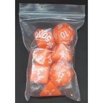Set de 7 dés opaques orange de jeux de rôles (accessoire de jdr)