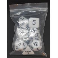Set de 7 dés opaques blancs de jeux de rôles (accessoire de jdr)