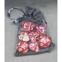 Set de 7 dés bicolores de jeux de rôles + pochette mousseline (accessoire de jdr)