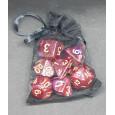 Set de 7 dés bicolores de jeux de rôles + pochette mousseline (accessoire de jdr) 004W