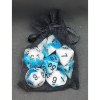 Set de 7 dés bicolores de jeux de rôles + pochette mousseline (accessoire de jdr) 004F