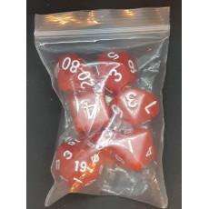 Set de 7 dés opaques rouges de jeux de rôles (accessoire de jdr)