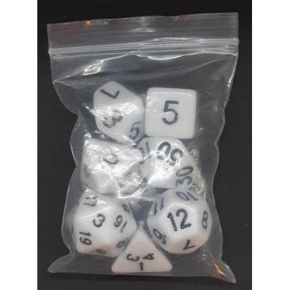 Set de 7 dés opaques blancs de jeux de rôles (accessoire de jdr) 007AA
