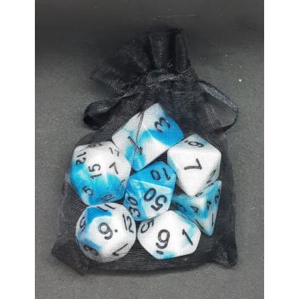Set de 7 dés bicolores de jeux de rôles + pochette mousseline (accessoire de jdr) 004G