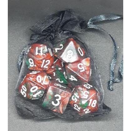 Set de 7 dés bicolores de jeux de rôles + pochette mousseline (accessoire de jdr) 004O