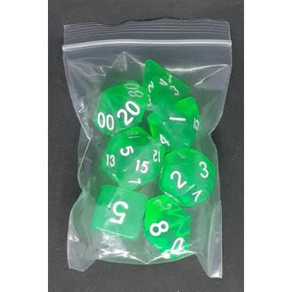 Set de 7 dés transparents de jeux de rôles (accessoire de jdr) 006B